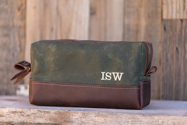 Waxed Canvas Toiletry Bag, Wax Canvas Dopp Kit, Personalized, Gifts for Men, Gifts for Dad, Handmade, Arizona