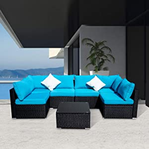Wonlink 7 PCS Patio PE Rattan Wicker Sofa Sectional Furniture Set with Blue Cushion, 2 Pillows and Tea Table