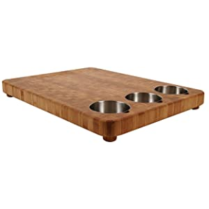 """Totally Bamboo 3-Bowl Bamboo Butcher Block with Stainless Steel Prep Bowls, 22"""" x 16-1/2"""" x 1-1/2"""""""