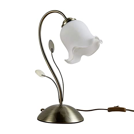 "Lámpara de mesa""Matea"" (Floral, Florentino, Flores) en Blanco hecho"