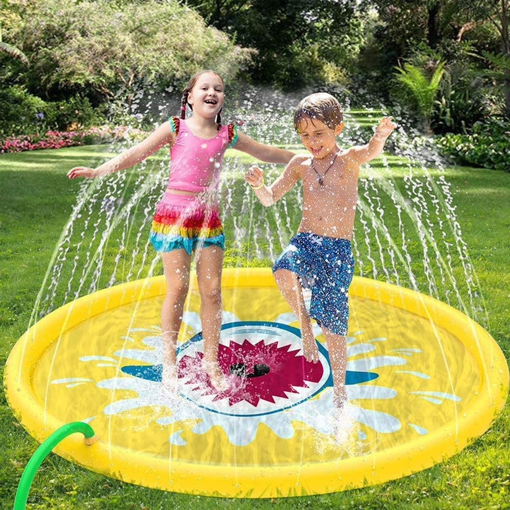 Estera inflable de verano de 68 pulgadas Splash Play Mat, Sprinkle and Splash Play Mat puede rociar Altura 2.5m para que 5 niños jueguen juntos (se adapta a todas las mangueras) Amarillo-68 pulgadas