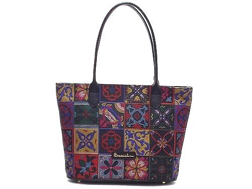 99fd14fbb4 Braccialini borsa donna, Mosaico B10180, borsa a spalla in tessuto e pelle,  nero multicolore: Amazon.it: Scarpe e borse