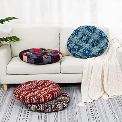 Kaichen Floor Pillow Bohemian Patchwork Style Meditation Pillow Round Seat Cushion Yoga Cushion Seating Pad For Living Room Bedroom Balcony Garden Party 55cmx55cm Plaid Round Amazon Ca Home Kitchen