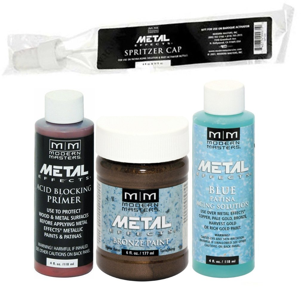 Modern Masters Metal Effects Bronze Paint and Blue Patina Kit (4-Ounce) by Modern Masters