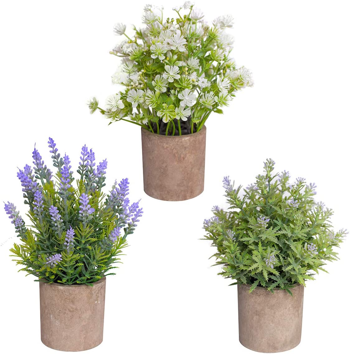 Binnny Flower Set of 3 Small Artificial Plants in Pots, Fake Lavender, White, Purple Potted Flowers Faux Greenery for Home Office Farmhouse Bathroom Tabletop Desk Indoor Decor