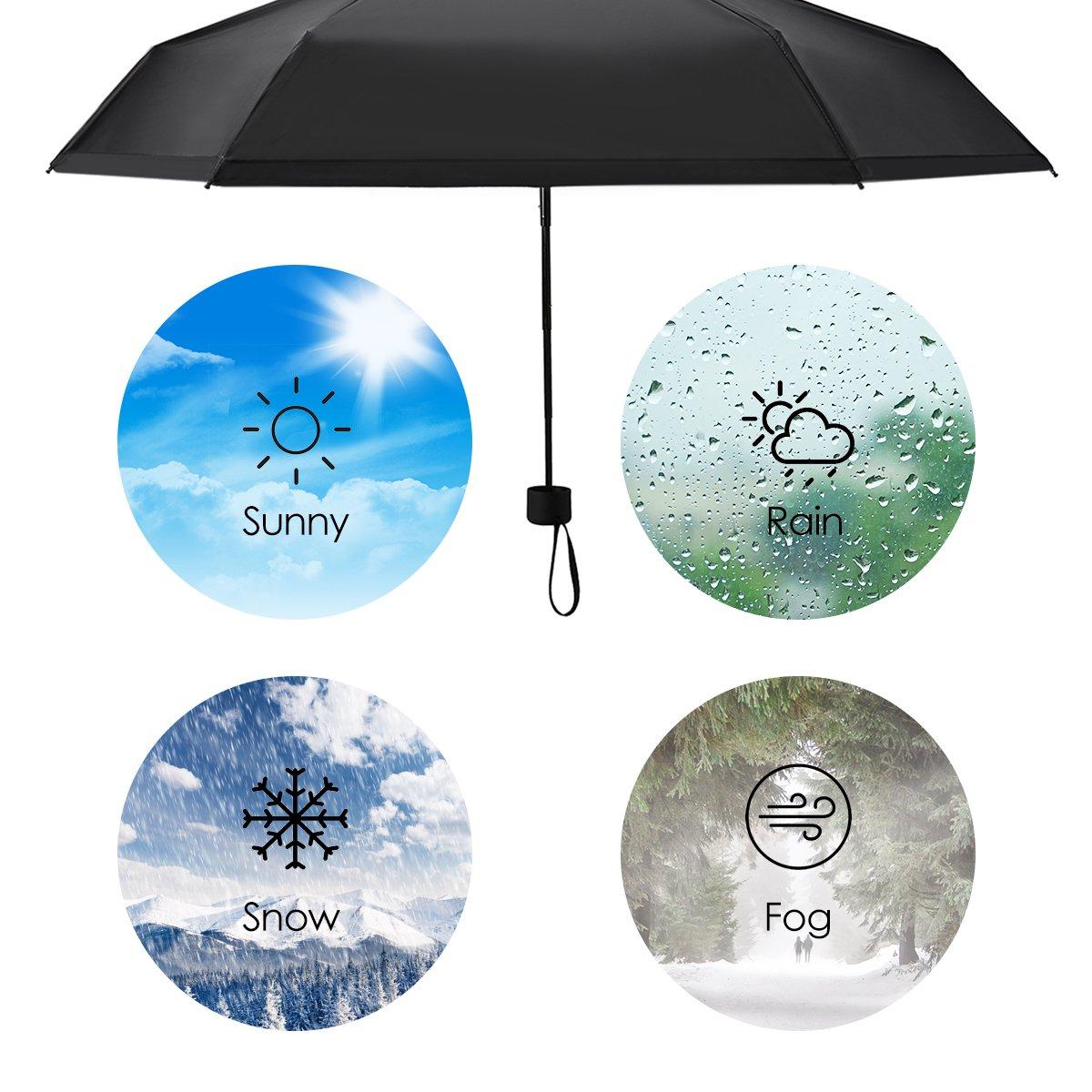Regenschirm mini leicht, Pathonor Taschenschirm Regenschirm faltender Visier-Sonnenschutz-Regenschirm Im Freien UV-faltender Regenschirm, klein, leicht & kompakt, 180 g(schwarz)
