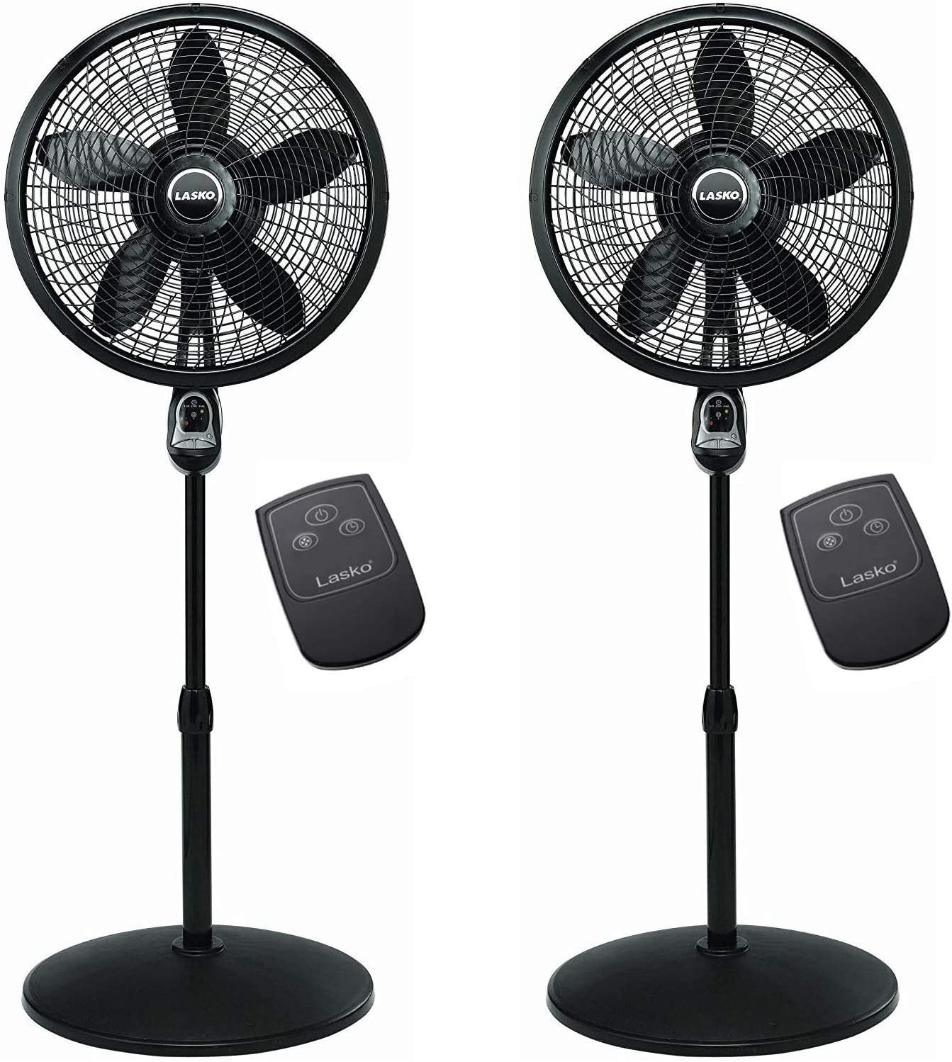 "2 x Lasko 1843 18"" Remote Control Cyclone Pedestal Fan, Black"