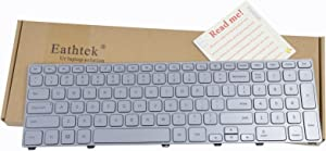 Eathtek Replacement Keyboard with Backlit and Silver Frame for DELL Inspiron 17-7000 17-7737 0P4G0N P4G0N NSK-LH0BW Series Silver US Layout (Can't Used for 15-7000 15-7737 Series Laptop.)