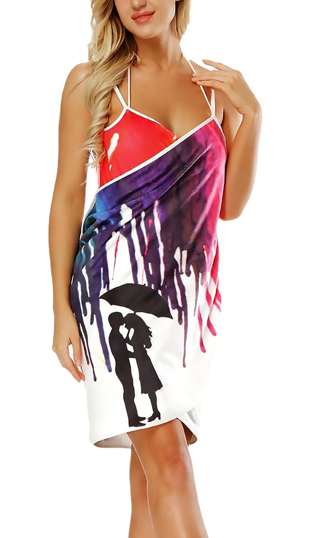 Toalla Pareo Mujer Verano Elegantes Moda 3D Impresión Vestido Playa V Cuello Joven Bastante Sin Espalda Tirantes Outdoor Natación Bikini Cover Up Pareos Playa Women