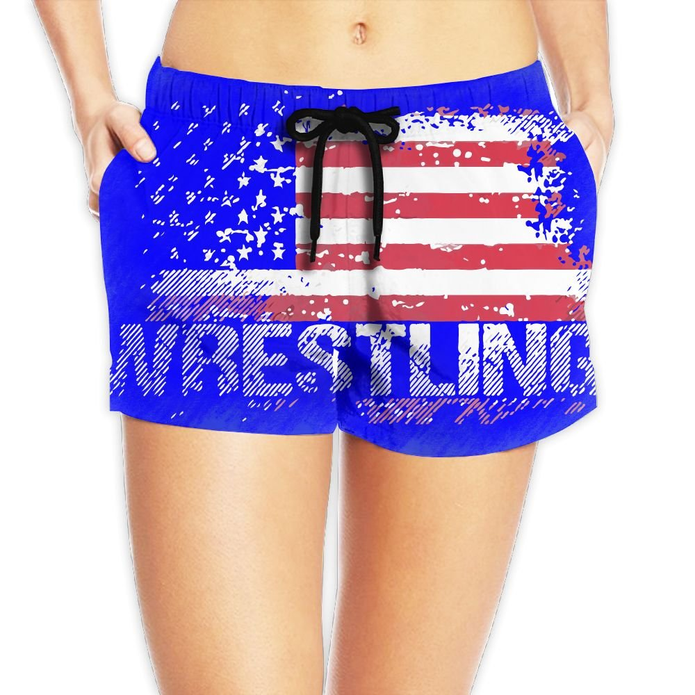 Deear Wrestling American Flag Women Quickly Drying Beach Waist Elastic Shorts Swim Trunk Boardshorts Swimwear With Pocket S by Deear