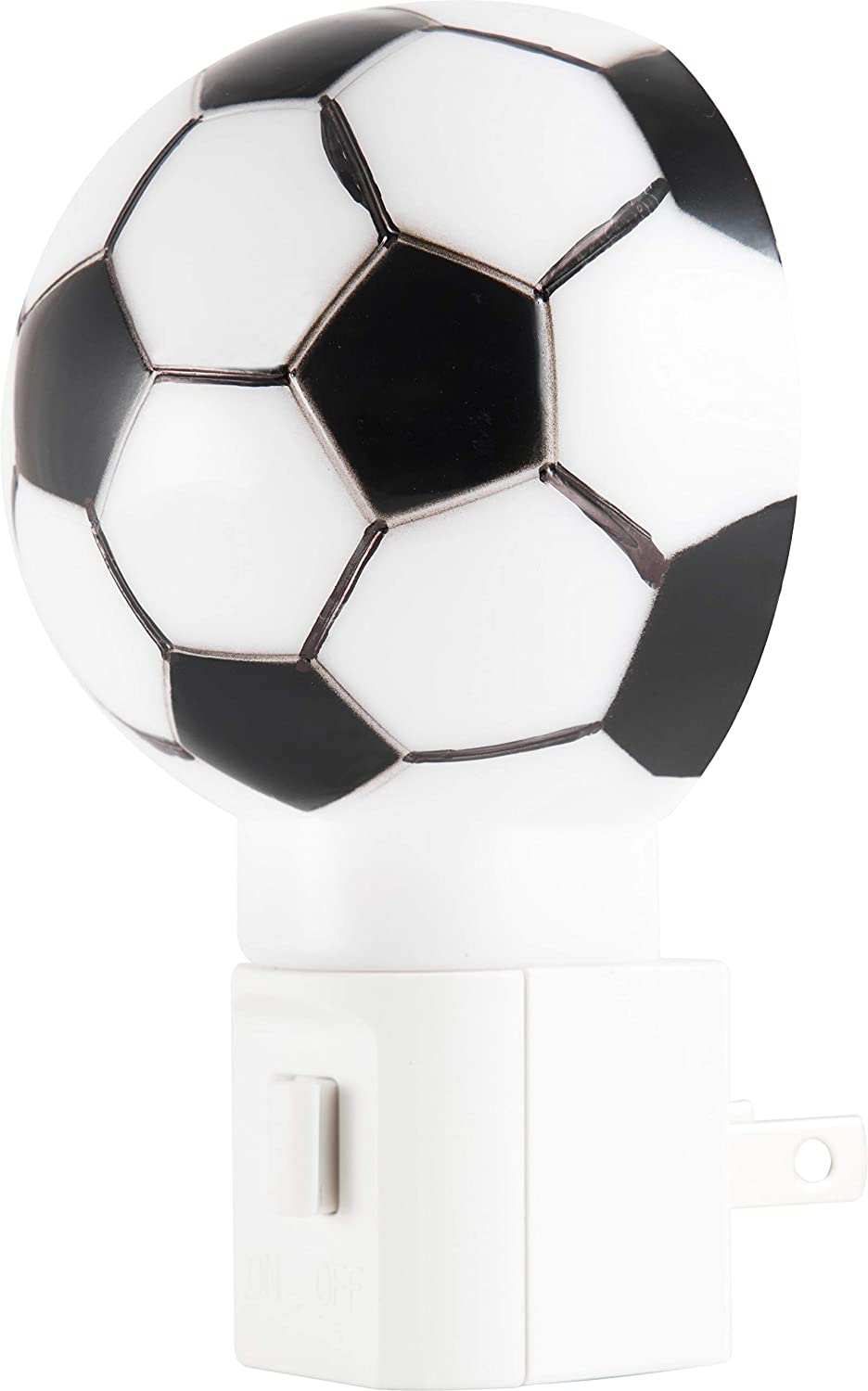 Lights by Night Plug-in LED Night Light, Soccer Ball, Fútbol, Energy Efficient, Manual On/Off, Sports Décor, Ideal for Living, Bedroom, Kid's Room, Nursery, Hallway, Bathroom, 44937, Black and White