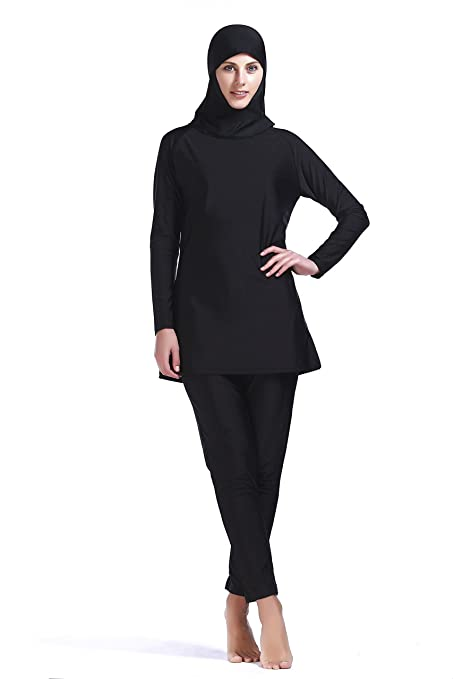 Women Muslim Swimwear Full Coverage Islamic Burkini Swimsuit 3 Pieces Full Body with Hijab Sun Protection