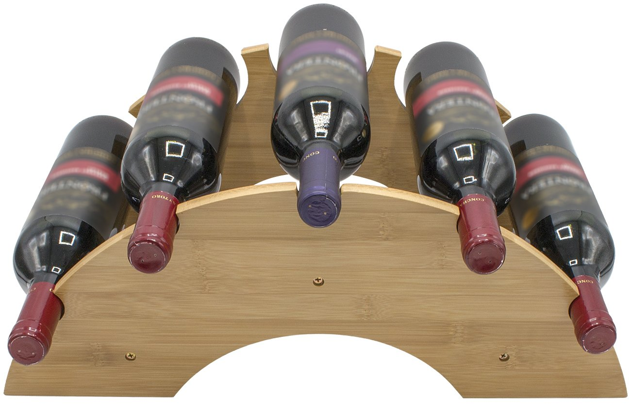Sorbus Bamboo Wine bottle Rack — Wooden Semi-Circle Rack for Up to 5 Bottles — Perfect for Kitchen Countertop, Bar, Wine Cellar, Dining, etc.