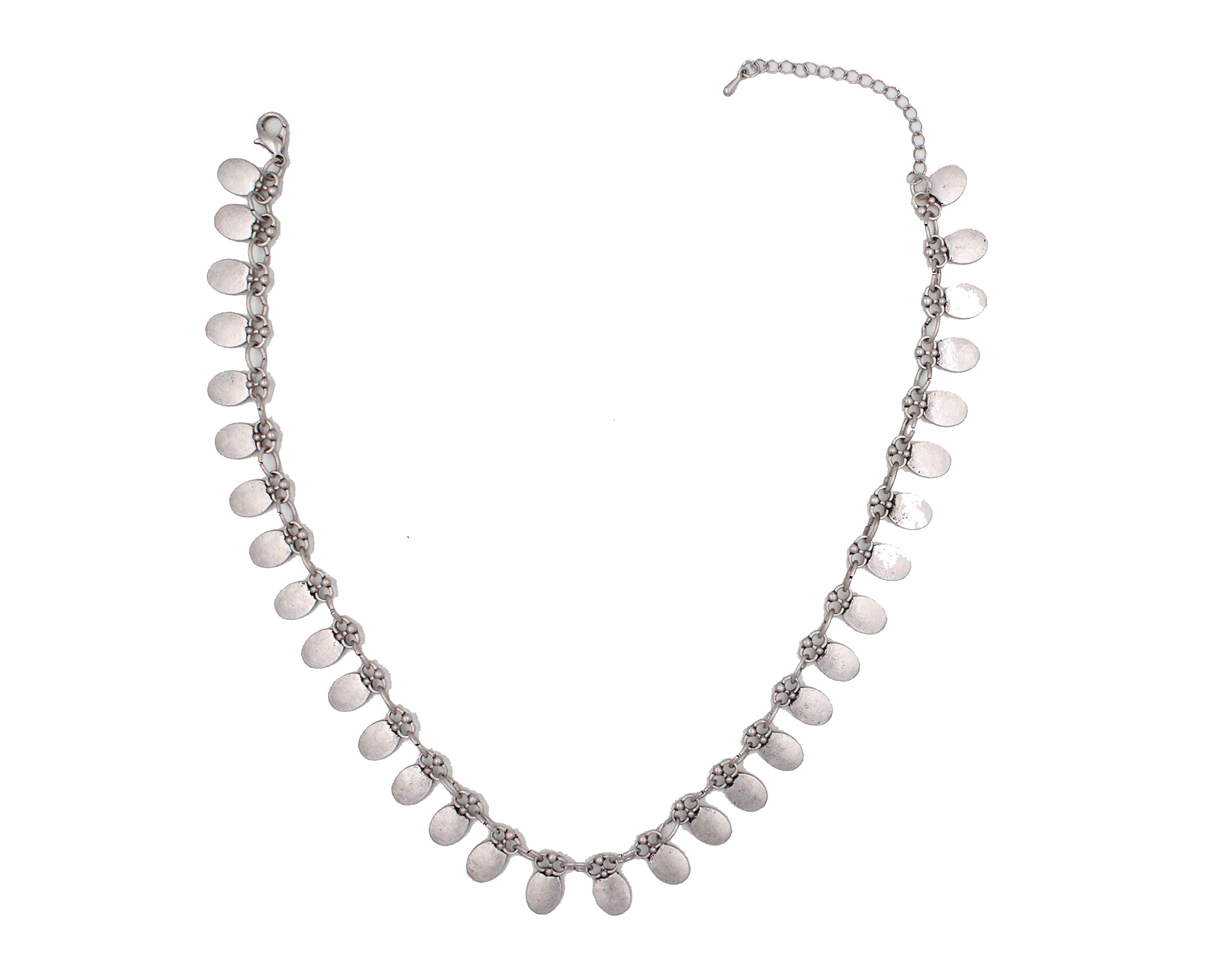Bohemian retro alloy short clavicle necklace by HIYOU-Home (Retro silver circle)