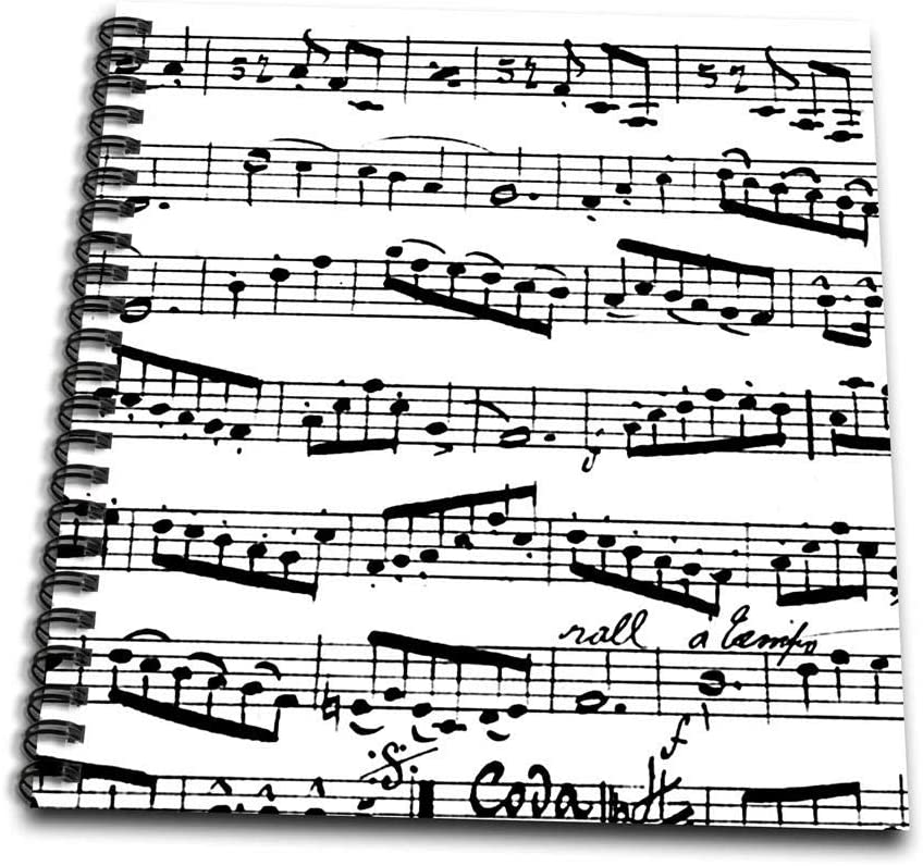 3dRose Notes Pattern-Black and White Piano Sheet Musical Notation-Memory Book, 12-inch (db_179702_2)