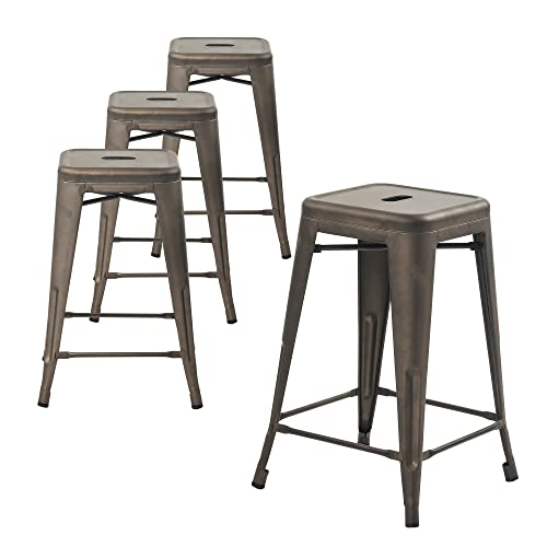 Buschman Metal Bar Stools 24 Counter Height, Indoor Outdoor and Stackable, Set of 4 Bronze