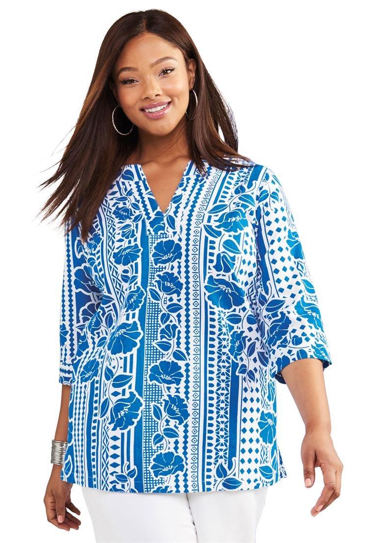 Jessica London Women's Plus Size Linen V-Neck Shirt Floral Stripe,16