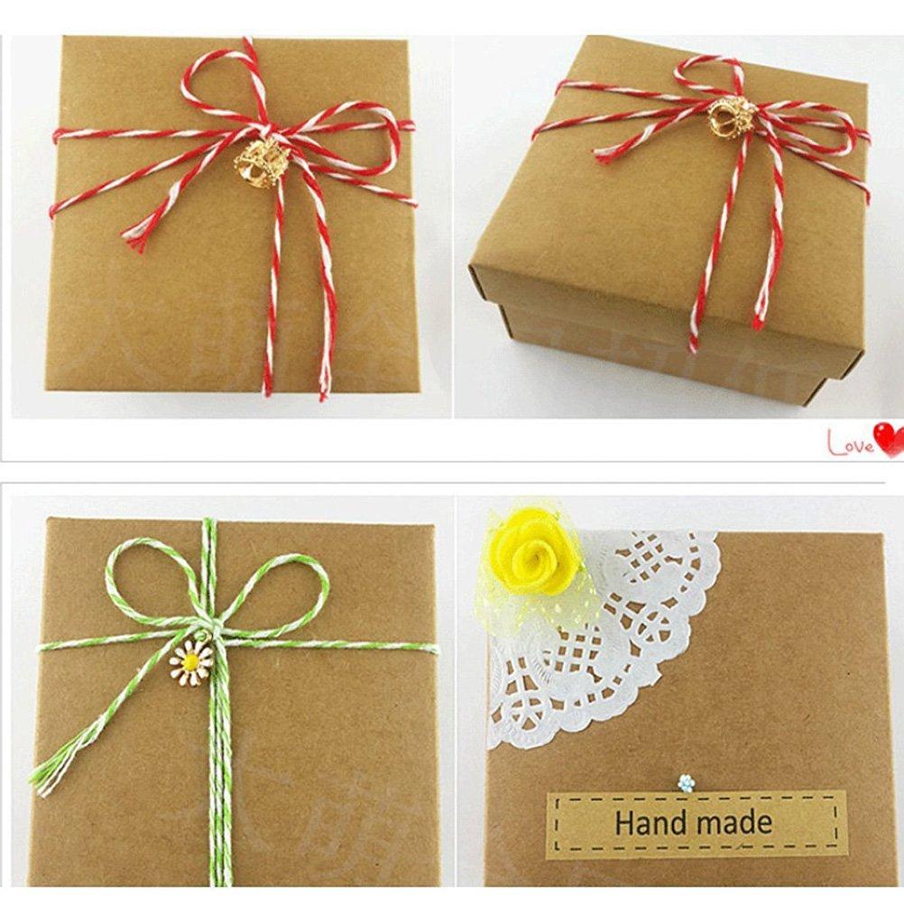 Rosenice per decorare i pacchetti regalo rosso + bianco corda di cotone da 100/m a due fili