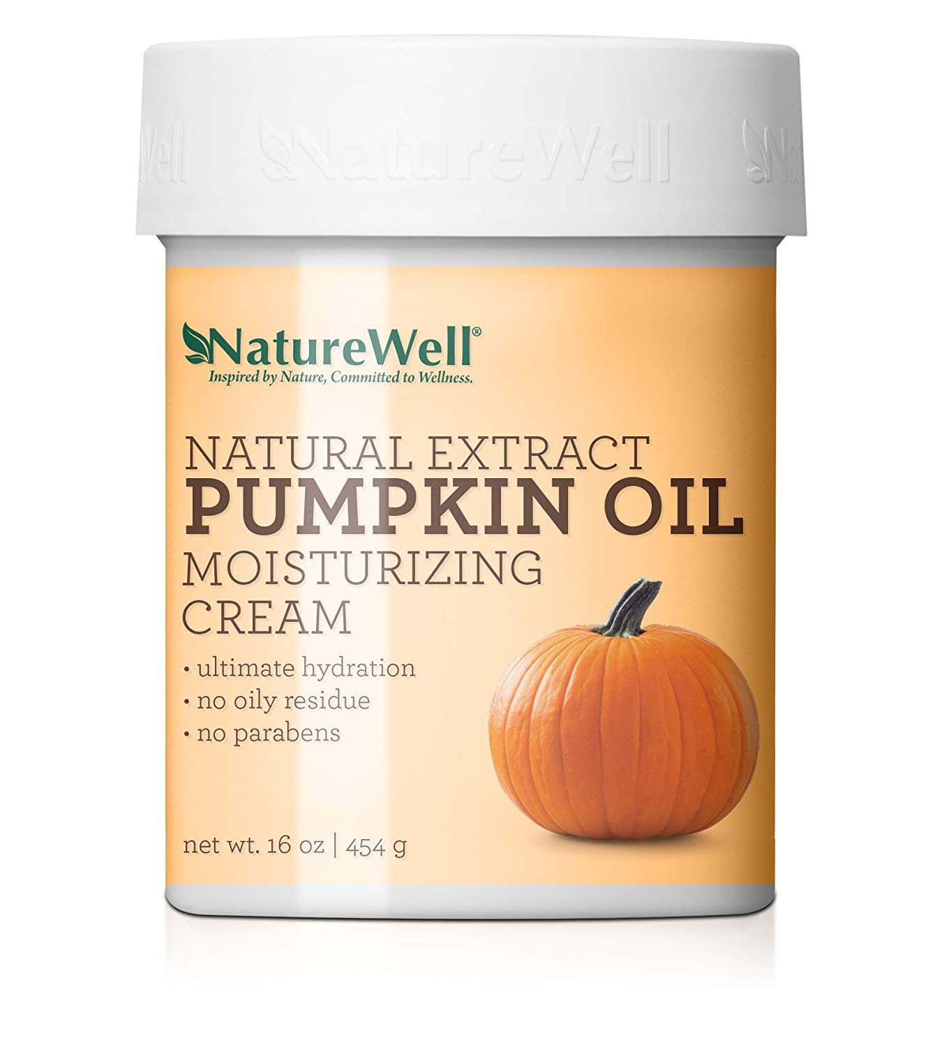 NatureWell Natural Extract Pumpkin Oil Moisturizing Cream for Face & Body, 16 oz. | Provides Ultimate Hydration & Gentle Exfoliation with No Oily Residue
