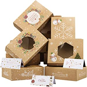 Christmas Cookie Boxes, 12 Pack Bulk Kraft Paper Boxes and 12 Pack Christmas Card, Holiday Christmas Decorations Food Candy Cookie Gift Boxes with Clear Window Gift Giving Christmas Party Supplies