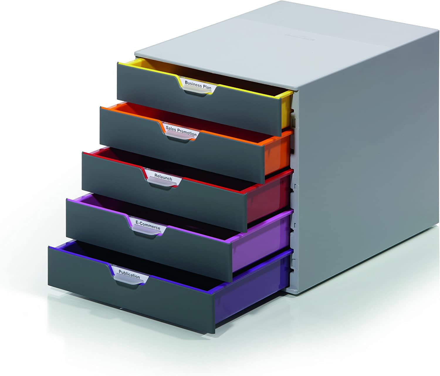 "DURABLE Desktop Drawer Organizer (VARICOLOR 5 Compartments with Removable Labels) 11"" w x 14"" d x 11.375"" h, Gray & Multicolored (760527)"