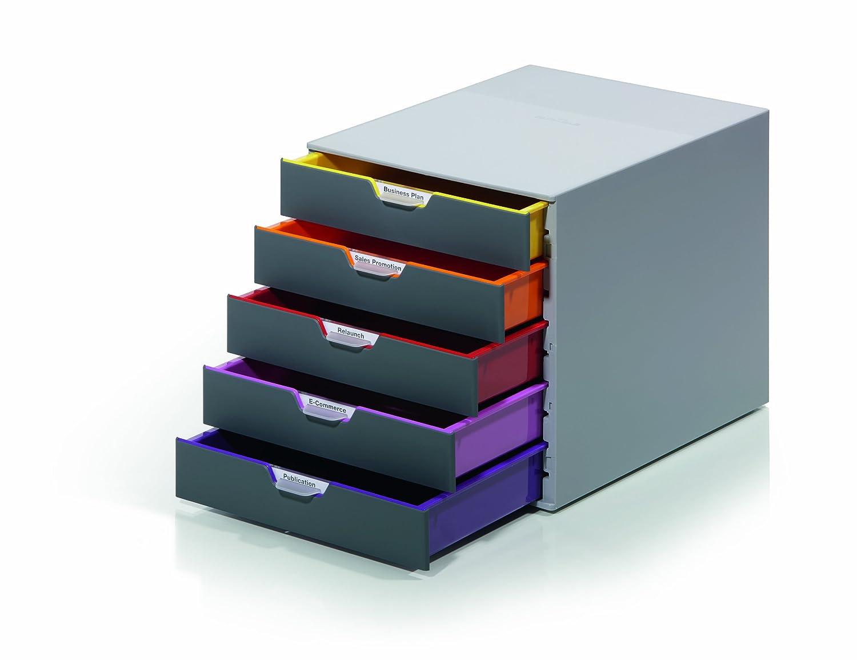 DURABLE 760527 - Varicolor 5, cassettiera con 5 cassetti colorati, porta etichetta rimovibile, 280x292x356 mm, 5 colori