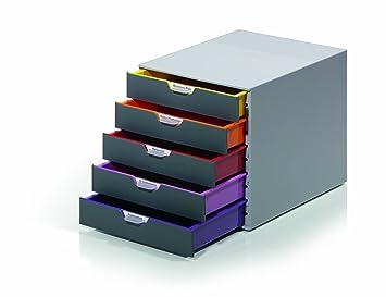DURABLE - 760527 - VARICOLOR 5. Cajonera con 5 cajones de colores de plástico de alta calidad. Medidas: 292 x 280 x 356 mm (An x Al x P)