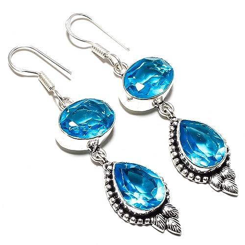 Beautiful Blue Topaz gemstone handmade silver plated ring
