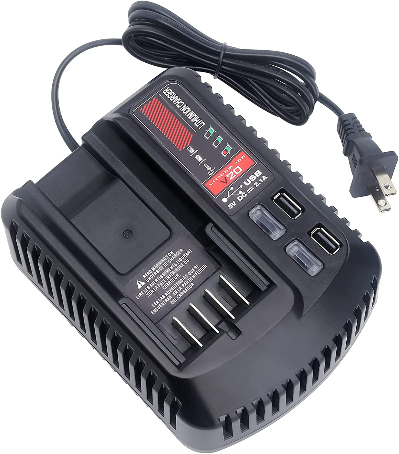 Yongcell CMCB104 Charger with USB Port Replacement for Craftsman V20 Battery Fast Charger CMCB100 CMCB124 Compatible with Craftsman 20V Lithium Battery CMCB202 CMCB204 CMCB201 (Only for V20 Battery)