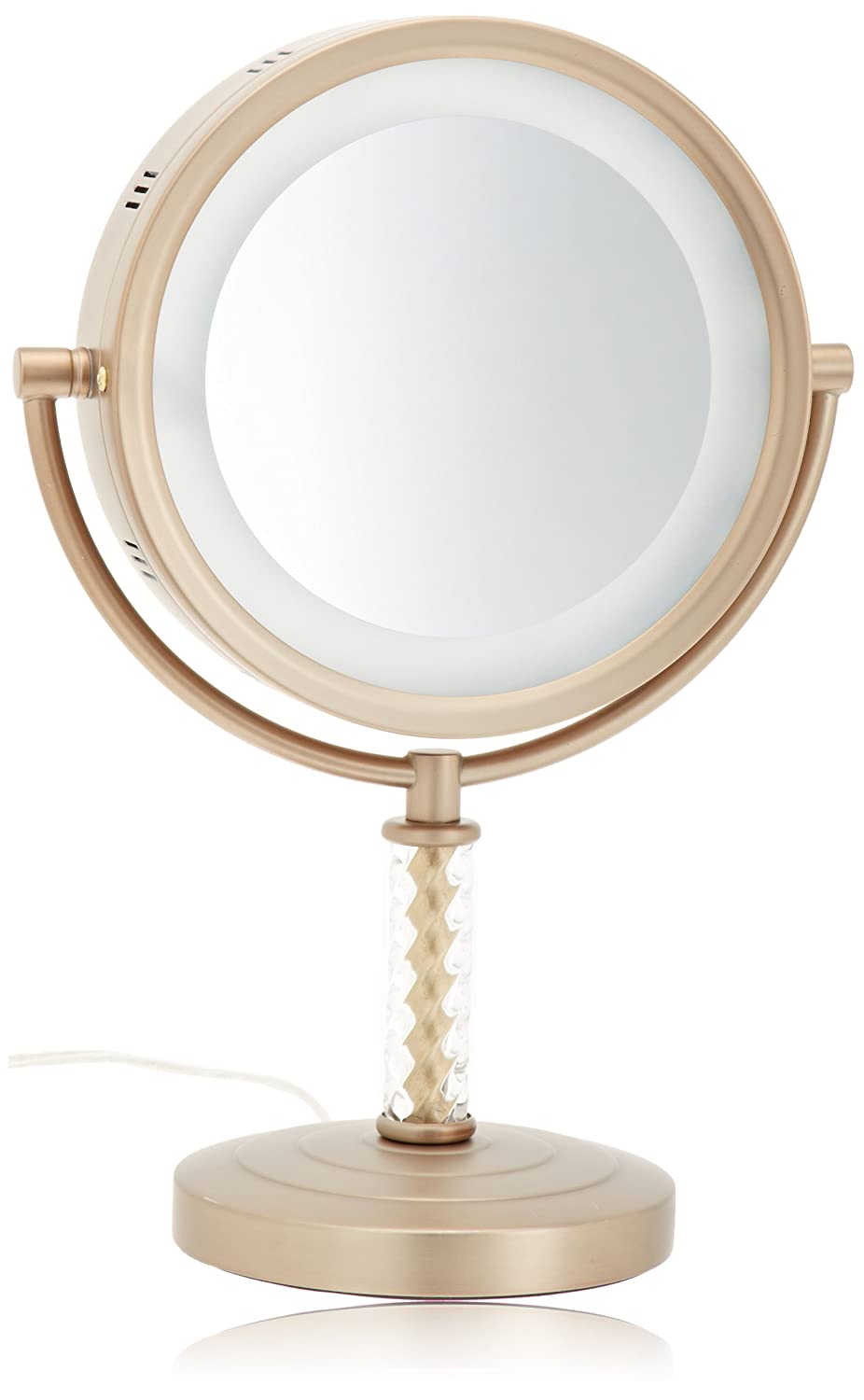 Jerdon HL856BC 8-Inch Tabletop Two-Sided Swivel Halo Lighted Vanity Mirror with 6x Magnification, 14-Inch Height, Brushed Brass Finish