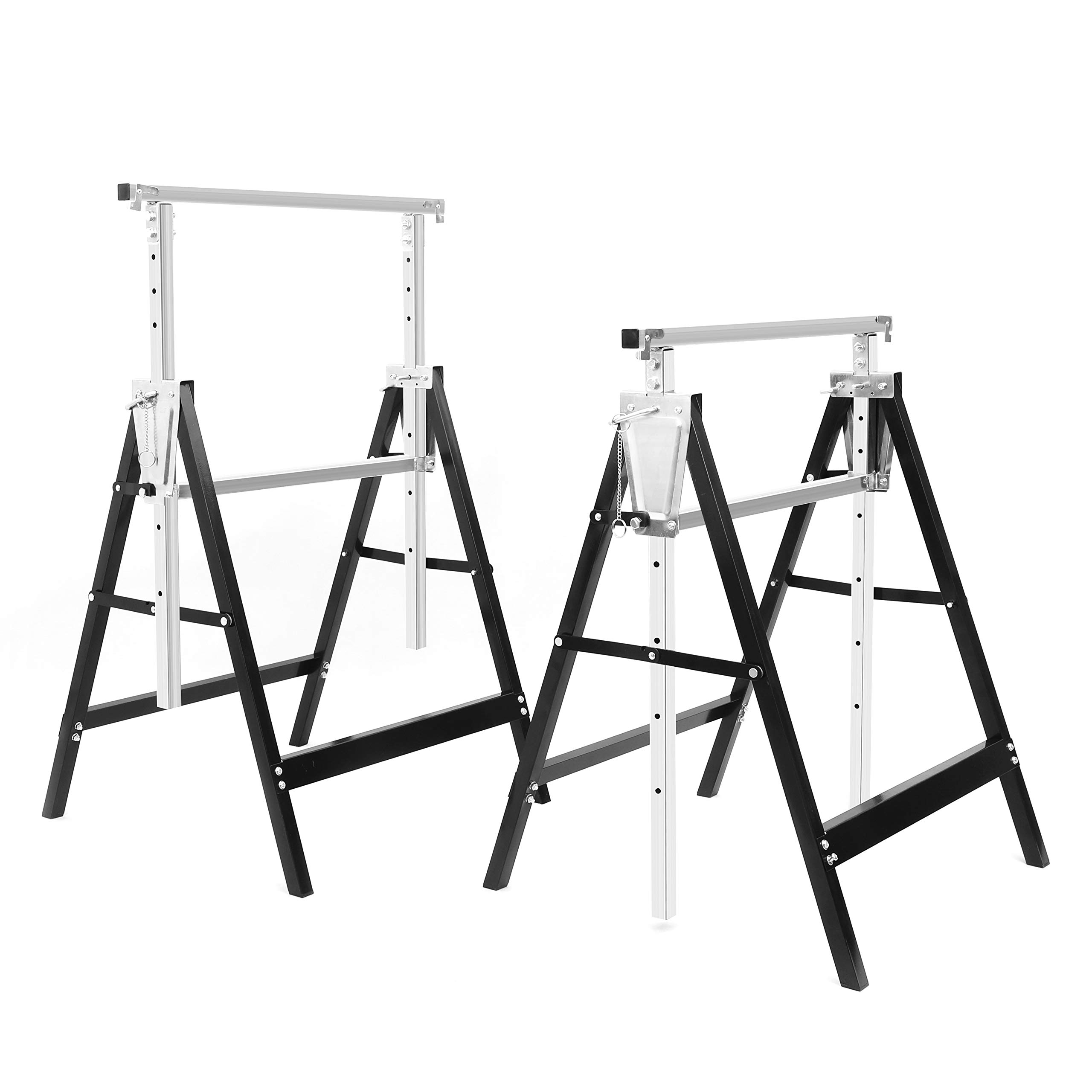 2 Pack Adjustable Builder Trestle Folding Portable Saw Horse Stand-up Desk Converter, 440 LBS Weight Capacity Each