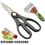 Multi-Purpose Kitchen Shears – Heavy-Duty Stainless Steel Professional Kitchen Scissors + FREE 3-in-1 Peeler By Angel