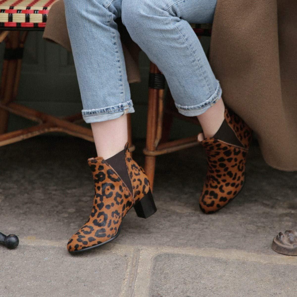 MZ Made for Petite - Botas de Piel para Mujer, diseño de gallinero de Leopardo, Talla pequeña Multicolor YWDpS