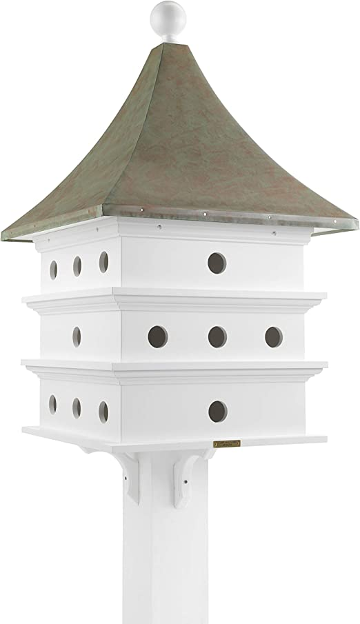 Lazy Hill Farm Designs 43426 Ultimate Martin Bird House White Solid Cellular Vinyl With Blue Verde Copper Roof 24 Compartments 23 Inch By 44 Inch Amazon Co Uk Garden Outdoors