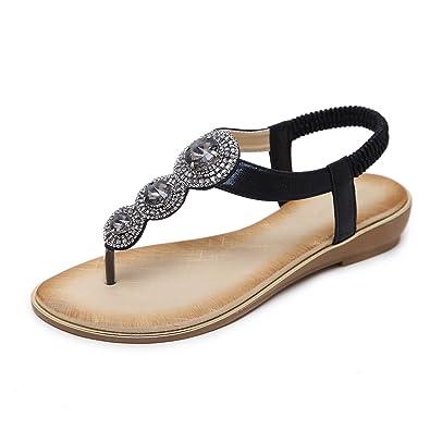 b4a97489744266 Flammi Women s Summer Rhinestone T-Strap Sandals Flip Flop Flat Sandals  Black Size  6