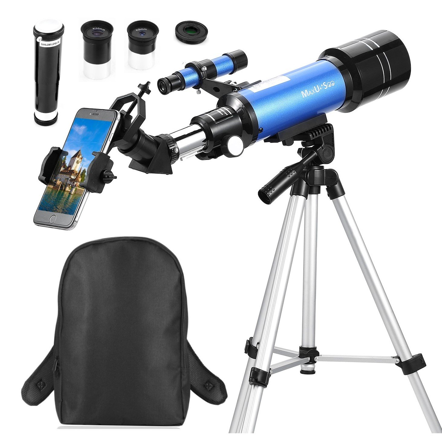 MaxUSee 70mm Telescope for Kids & Beginners, Travel Scope with Backpack for Moon Stars Viewing Bird Watching Sightseeing, Refractor Telescope with Adjustable Tripod & Smartphone Adapter by MaxUSee