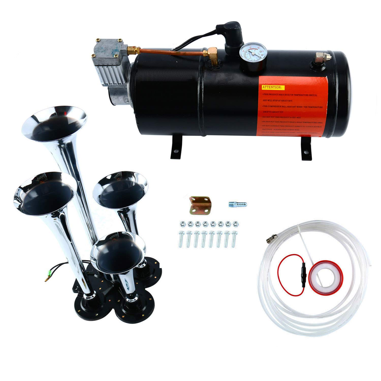 8MILELAKE Air Compressor Tool 150 PSI 12V with Chrome 4-Trumpet Air Horn for Train Truck freebirdtrading