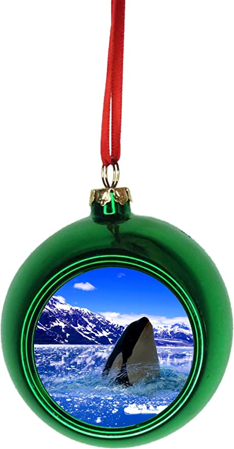 Amazon Com Rosie Parker Inc Arctic Orca Killer Whale Bauble Christmas Ornaments Green Bauble Tree Decoration Ball Home Kitchen