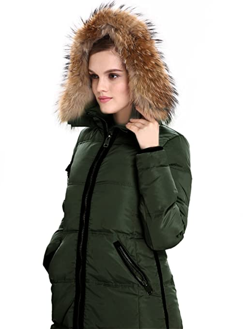 9675e847fd32 Amazon.com: Escalier Women's Down Jacket with Real Fur Hooded Winter Parka  Coat: Clothing