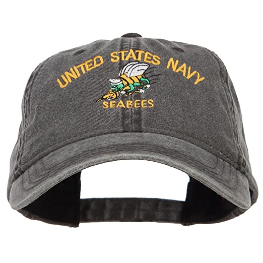 3daa4b3a163 E4hats US Navy Seabees Embroidered Washed Cap - Black OSFM at Amazon ...