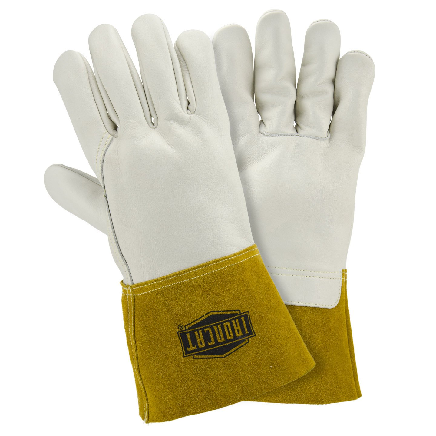 IRONCAT 6010/XL Heavyweight Top Grain Cowhide MIG Welding Gloves, White, XL (Pack of 12 Pairs)