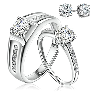 68fc6a6678 Aciei Couple Wedding Ring S925 Sterling Silver for Him and Her Bright CZ  Width High Polished