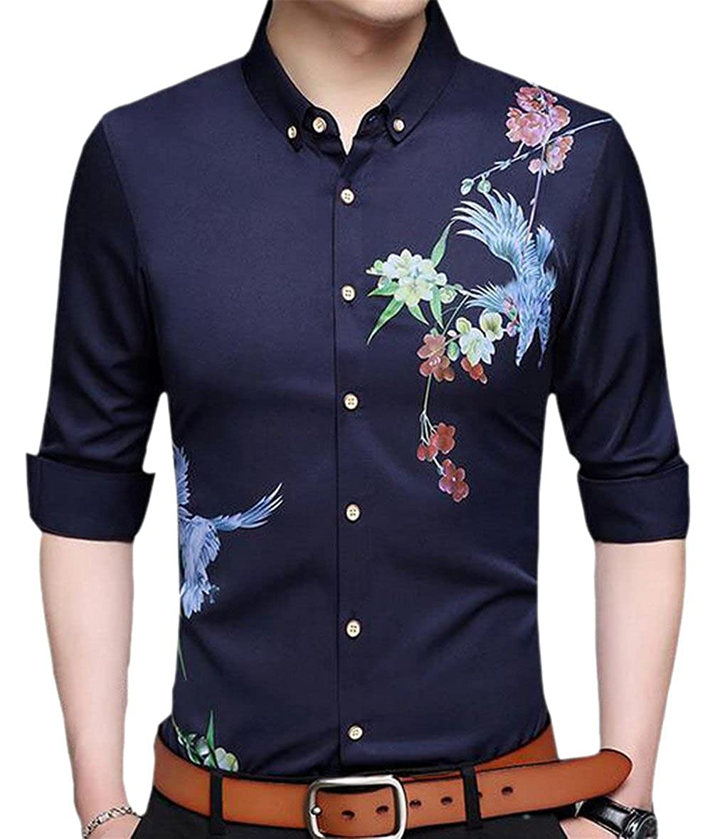 YY-qianqian Mens Casual Slim Fit Long Sleeve Floral Printed Button Down Dress Shirt