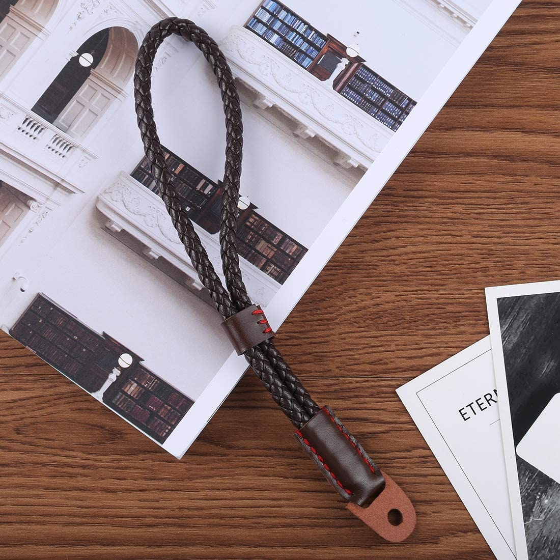 YANTAIANJANE Camera Accessories Wrist Strap Grip PU Leather Hand Strap for SLR//DSLR Cameras Color : Coffee Black