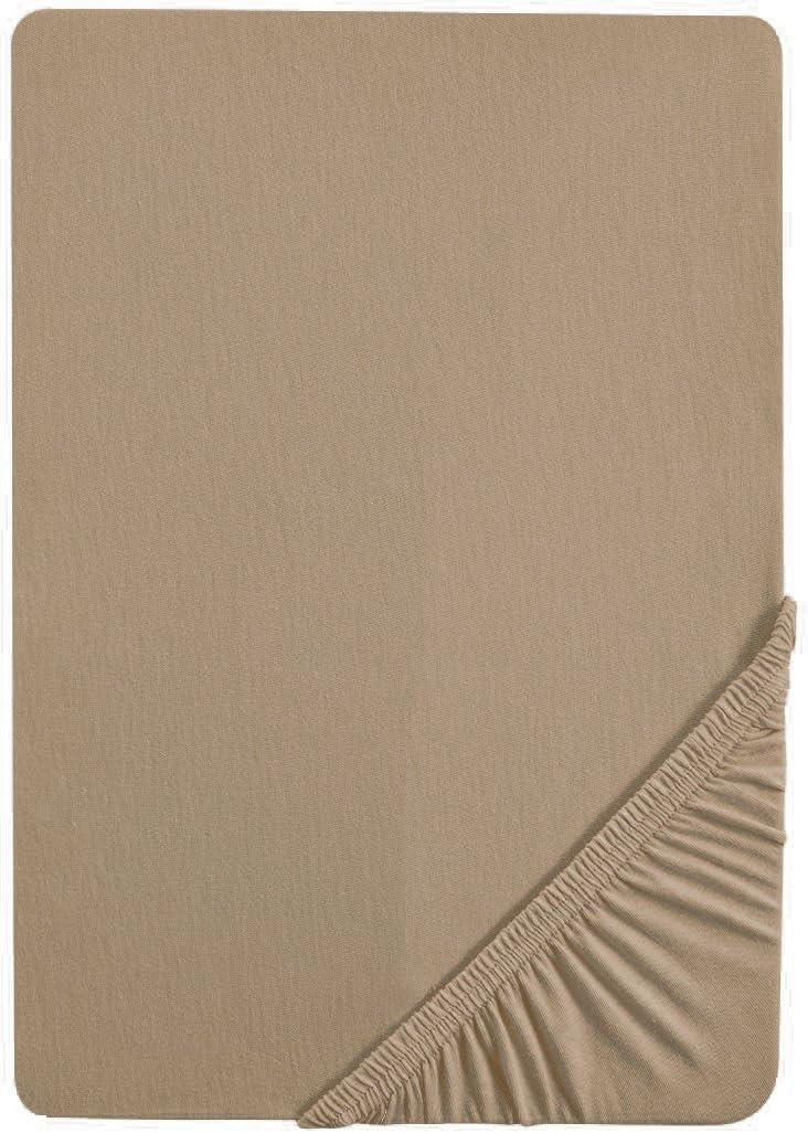 Matratzenh/öhe max. 22 cm biberna 0077144 Feinjersey Spannbetttuch Baumwolle 160x200 cm 140x200 cm taupe