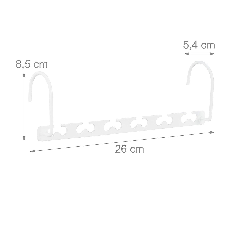 Metal Blanco Relaxdays Pack de 6 Perchas Ropa Ahorra Espacio con Ganchos giratorios 26 cm