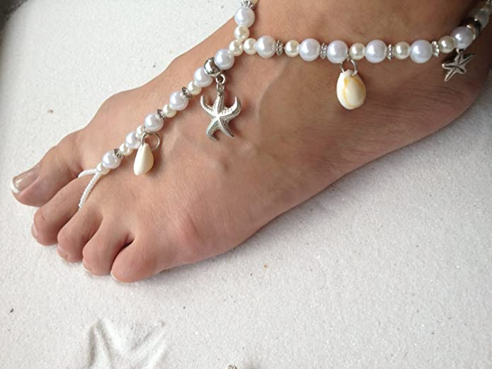 Amazoncom Barefoot Sandals Beach Wedding Themed White Pearl