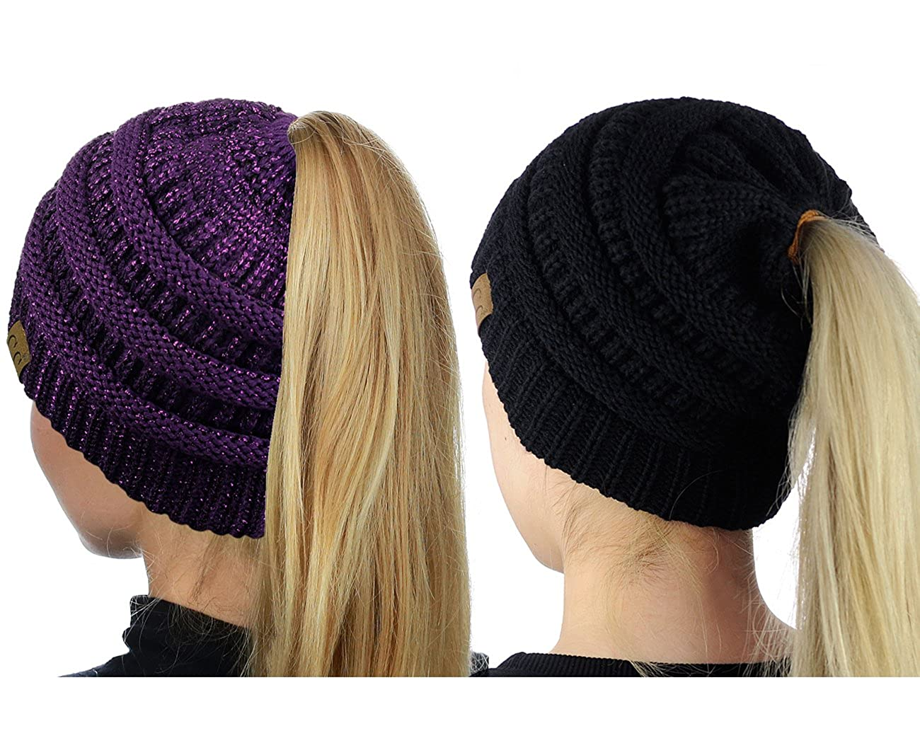 C.C BeanieTail Soft Stretch Cable Knit Messy High Bun Ponytail Beanie Hat, 2 Pack Black/Beige MB20A SET-BK/BG