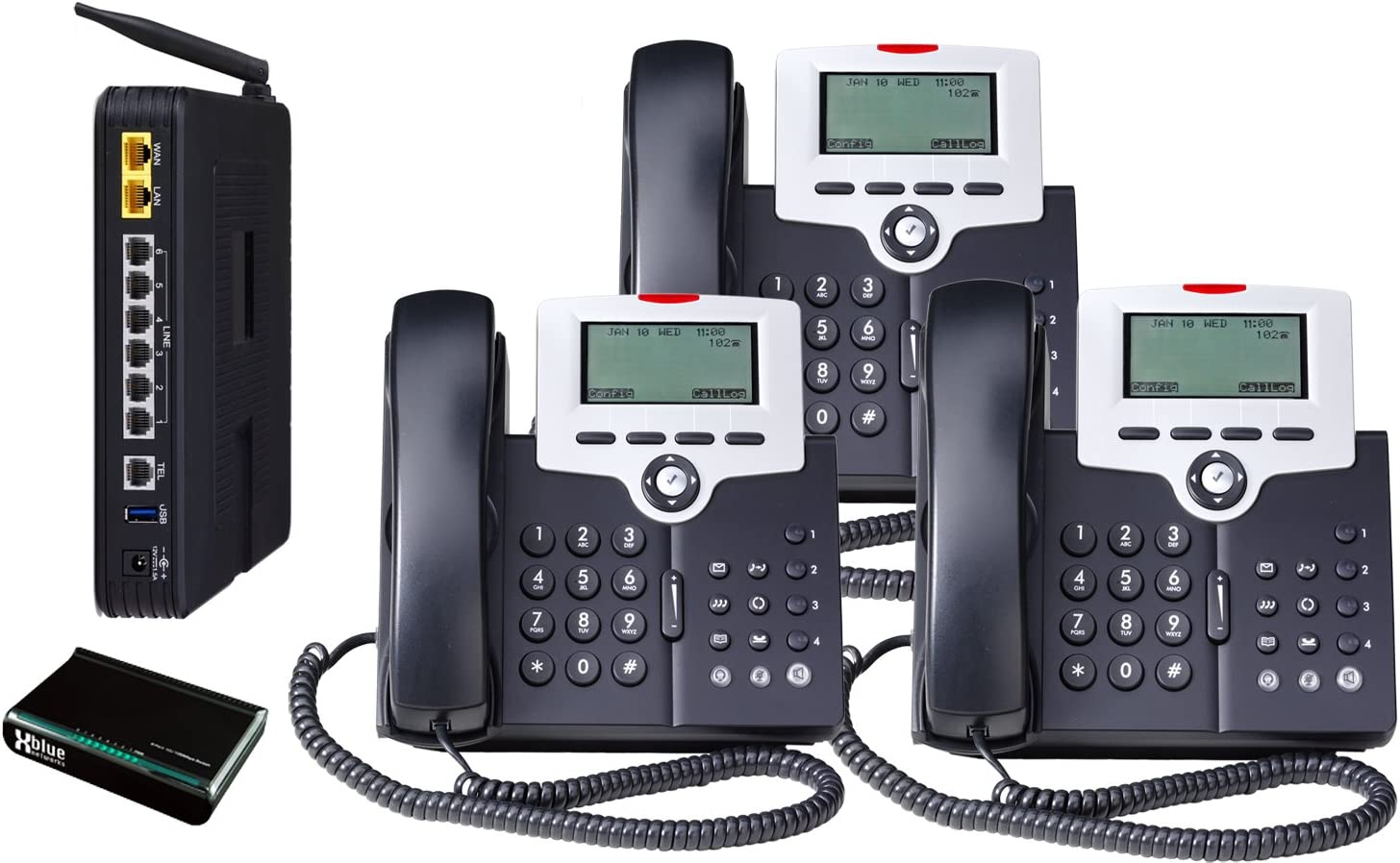 Amazon Com X 50 Voip Small Business System 3 Phone System Bundle Pbx Telephones And Systems Electronics