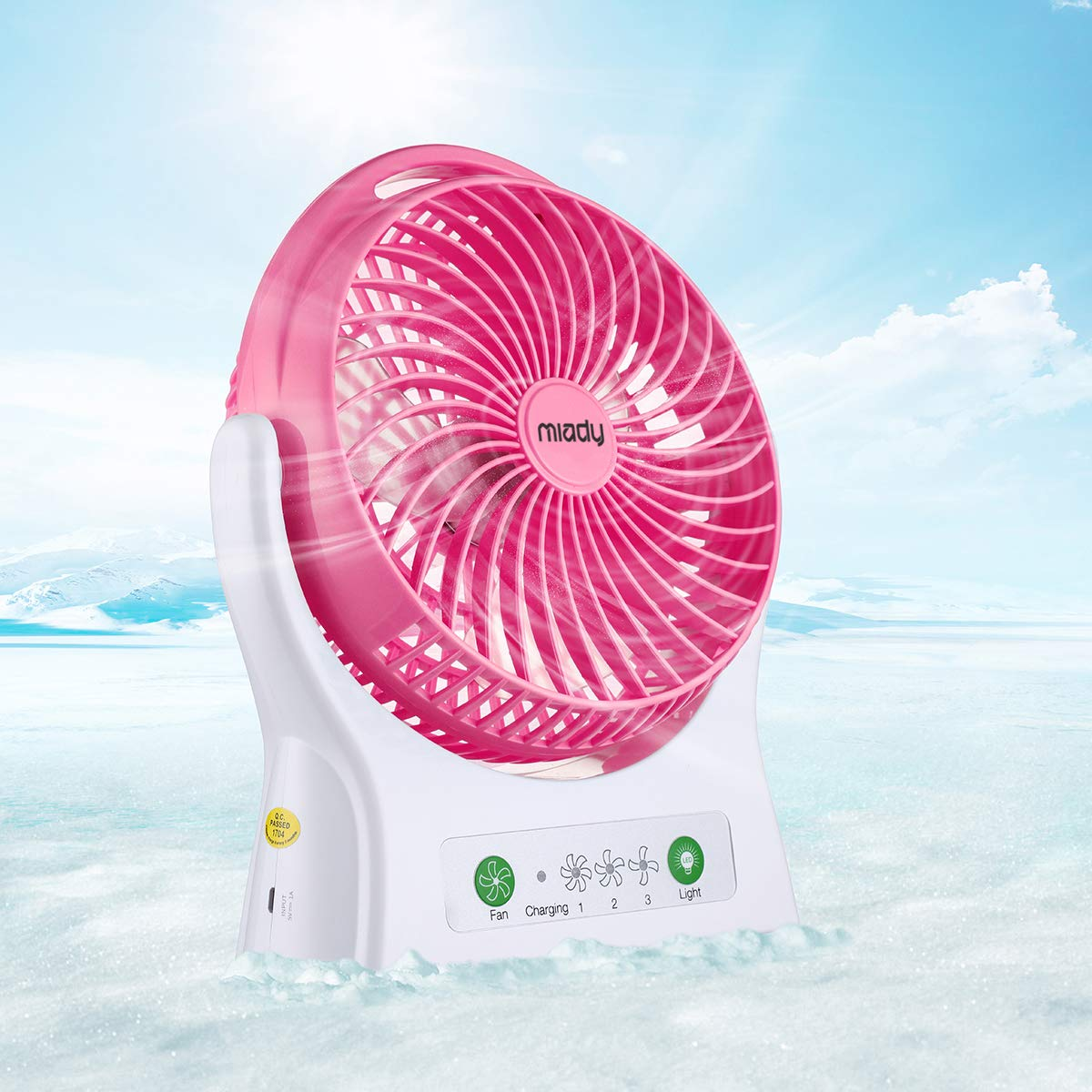 3 Speed Miady 7.5-inch Rechargeable Personal Desk Fan USB Fan 4000mAh Battery Powered Fan 150 Degree Rotated Table Cooling Fan with Led Light for Office Home and Travel